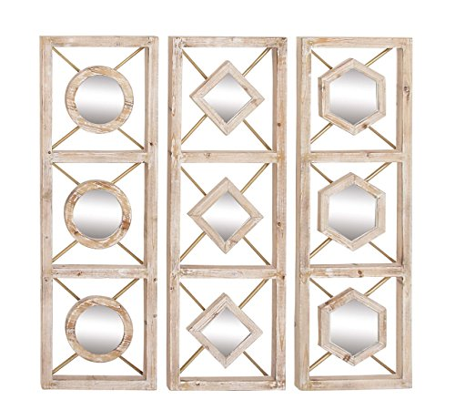 (Deco 79 84361 Wood and Mirror Wall Decor (Set of 3), 13