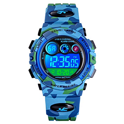 Kid's Watch,Blue Camouflage Boys Sports Watch LED Digital Military Outdoor Multifunction 50M Waterproof Alarm Calendar Watch for Children with Silicone Band