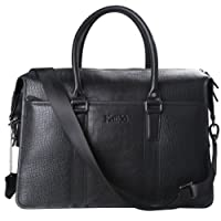 Kattee Men's Crocodile Print Real Italy Cow Leather Briefcase Tote Shoulder Bag