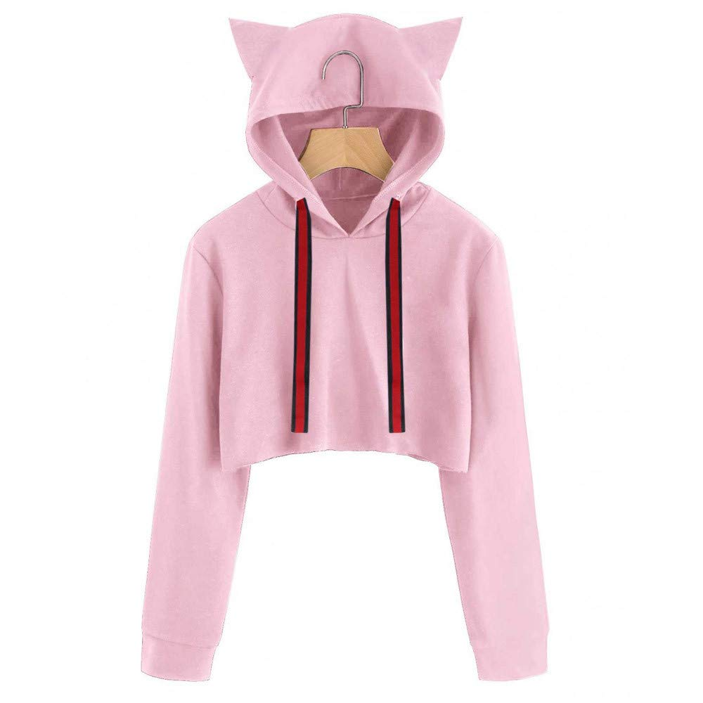 Amazon.com: Sweatshirts for Teen Girls Hoodie,Womens Plus Activewear,Women Cat Long Sleeve Hoodie Sweatshirt Hooded Pullover Short Tops Blouse PK/S,Pink,S: ...