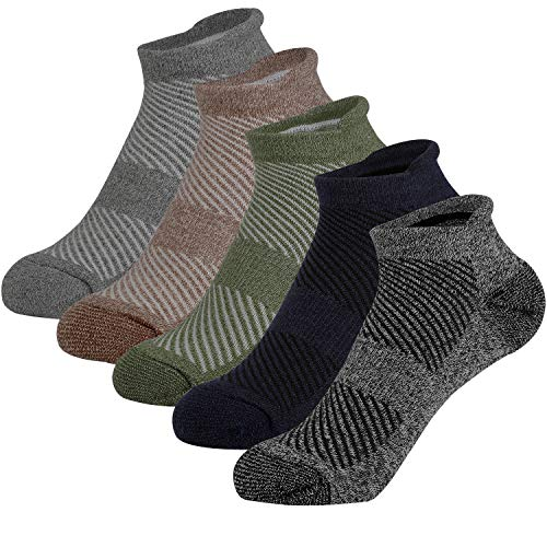 SPLF Men's No Show Low Cut Ankle Running Socks with Cushion and Tab, 5 Pack Performance Athletic Socks