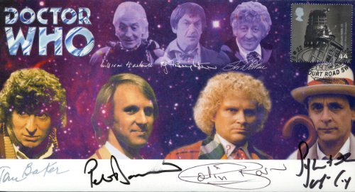 Doctor Who SIGNED Commemorative Stamp Cover 'Doctors United' -