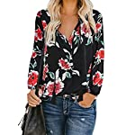 Women's Floral Print V Neck : Long Sleeve Shirts