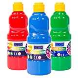 [Pack of 3] 500ml Large Bottle of Poster Tempera Paint Non-Toxic Water Colour Childrens 3+ SCARLET RED / CYAN / EMERALD GREEN