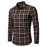 NUWFOR Men's Long Sleeve Lattice Plaid Painting Large Size Casual Top Blouse Shirts(Brown,XL US Chest:47.2''