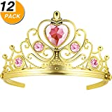 BBTO 12 Pack Bridal Crowns with Heart Stones Gold Wedding Headpiece Hair Accessories for Little Girls Party Favors