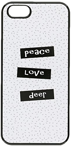 Graphics and More Peace Love Deer Snap-On Hard Protective Case for iPhone 5/5s - Non-Retail Packaging - Black
