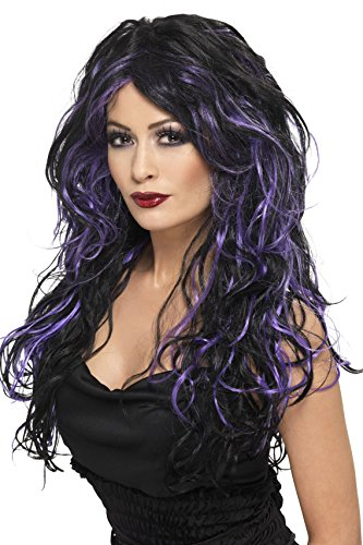 Smiffys Women's Long Black and Purple Streaked Wig with Curls, One Size, Gothic Bride Wig, 5020570356838 -