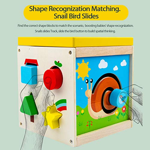 Multipurpose Activity CubeCenter Bead Maze Shape Sorter Wooden Early Educational Toy Montessori Bead Maze Standing Toy for Preschool Toddler Gift for Girls Boys Aged 3 4 5 6