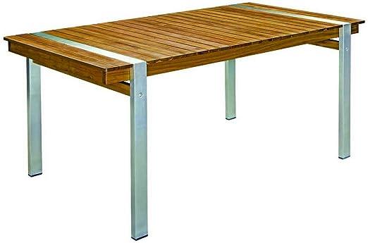 Mesa de jardín de Comedor de Acero Inoxidable marrón de 160x85x74 cm - LOLAhome: Amazon.es: Jardín