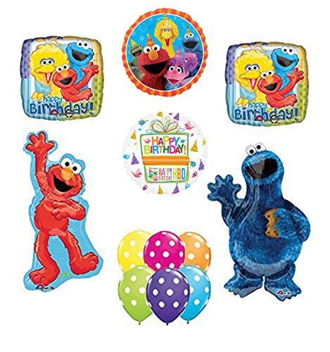 Waving Elmo and Cookie Monster Party Supplies Birthday Balloon Bouquet Decorations