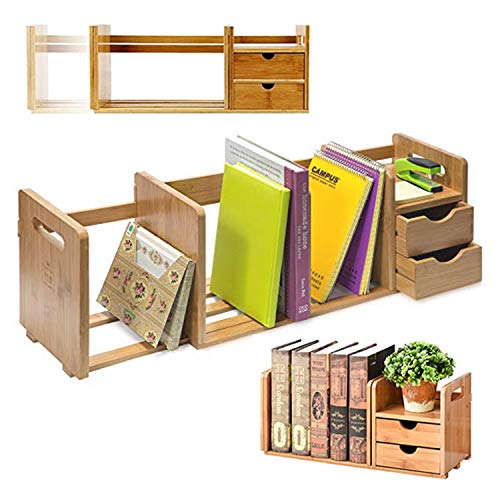 IDK Luxury Bamboo Wood Desk Organizer Shelf with Two Drawers Three Expandable Book & File Shelves | Great for Home & Office Bookshelf, Accessories & Desktop Organizer