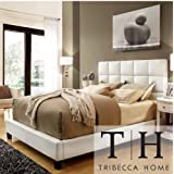 TRIBECCA HOME Sarajevo Queen-Sized White Faux Leather Bed-Italian Style Bedroom Furniture