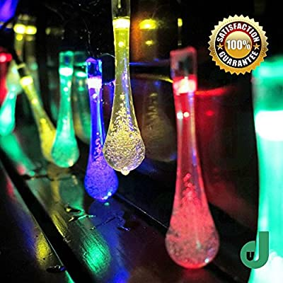 DW LED String Lights Indoor Outdoor Water Droplets Shape 20 LEDs Warm White Party Lights Christmas Wedding Halloween Patio Party Solar Light Strings 3 Modes Cool Battery Operated Flexible Hanging