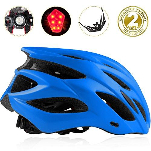 Shinmax Bike Helmet, CPCS Adjustable Lighted Bike Helmet Specialized Cycling Helmet Men&Women With Visor&Rear Light