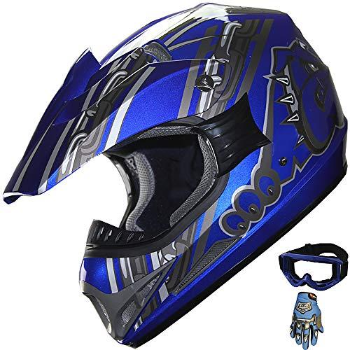 ATV Motocross Dirt Bike Mountain Bike Helmet Off-Road MX Helmet +Gloves+Goggles Combo M405 (128 Blue, L) ()