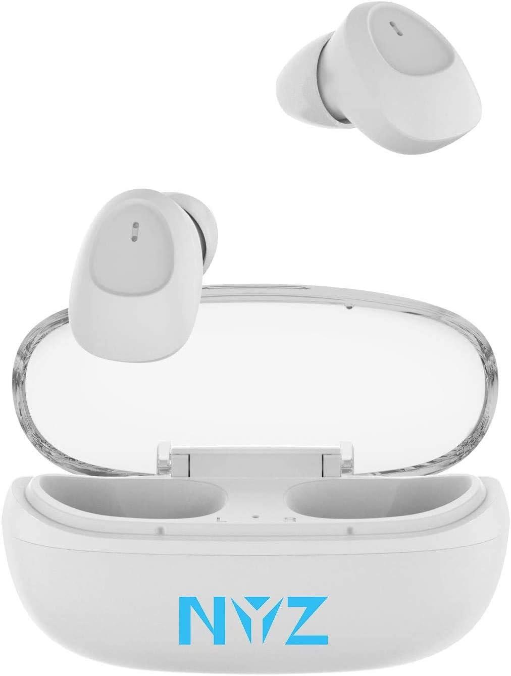 NYZ - Auriculares inalámbricos con Bluetooth 5.0, Sonido estéreo 3D con micrófono y Funda de Carga, Color Blanco