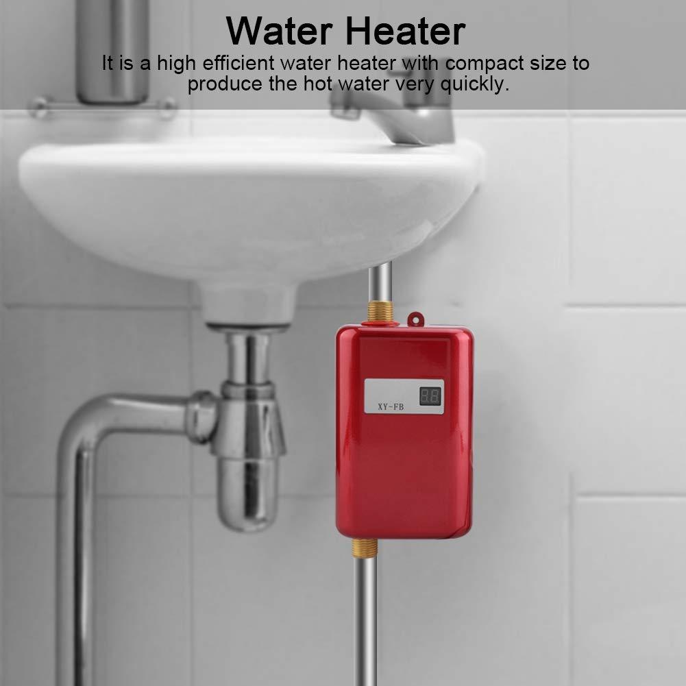 noir 220V 3400W Mini chauffe-eau /électrique sans r/éservoir Chauffage /à eau chaude instantan/ée Douche Syst/ème deau chaude pour salle de bains Cuisine Lavage Rouge UE