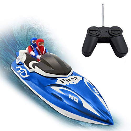(KOLAMAMA Remote Control Boat, RC Boat for Kids&Adults,2.4Ghz 4CH Electric Racing Boat for Pools and Lakes,Kids Boat Toy-Blue)