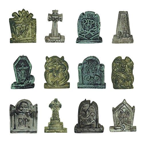 Spooktacular Creations Set of 12 Miniature Tombstones for Halloween (Best Halloween Cupcake Decorations)