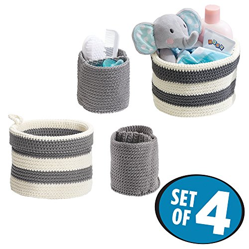 Hand Knit Booties - mDesign Hand Knit Round Toy Storage Organizer Basket Bins, for Stuffed Animals, Blocks, Dolls, Costumes, Folds Flat for Compact Storage – Pack of 4, Large and Small Containers, Gray and Gray/White