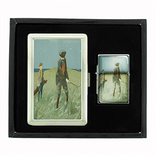 Perfection In Style Cigarette Case and Oil Lighter Gift Set Vintage Golf Design 011 by Perfection In Style