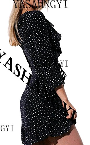 Coolred-femmes Profondes Pois V-cou Divisé Mode Manches Longues Falbala Noir Robe Midi
