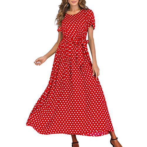 - Qingell Women O-Neck Short Sleeve Summer Pleated Polka Dot Bandage Loose Swing Casual Midi Dress with Pocket Red