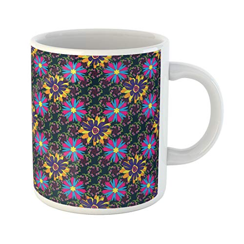 (Semtomn Funny Coffee Mug Abstract Cute Mille Fleurs Floral Yellow Blue and Magenta Pattern 11 Oz Ceramic Coffee Mugs Tea Cup Best Gift Or)