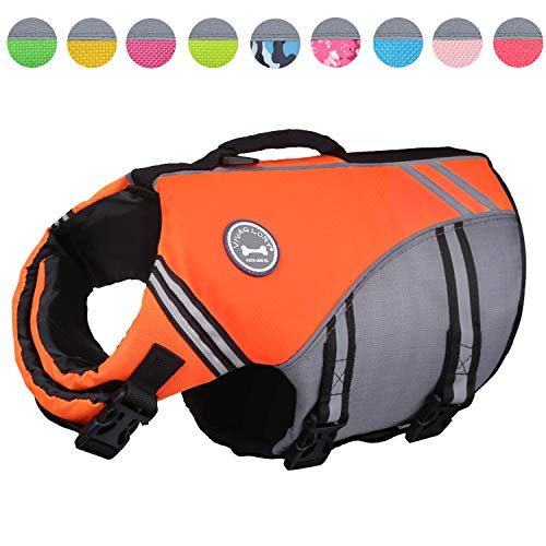 Vivaglory New Sports Style Ripstop Dog Life Jacket with Superior Buoyancy & Rescue Handle, Bright Orange, S