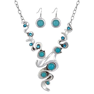 YAZILIND New Design Jewelry Sets Tibetan Silver Pendant Necklace Water Drop Earrings Set Jewellery For Women vwATdEd