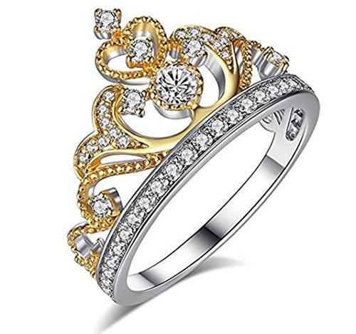 Silver Gold Plated Princess Crown Tiara CZ Band Ring for Wedding Bridal