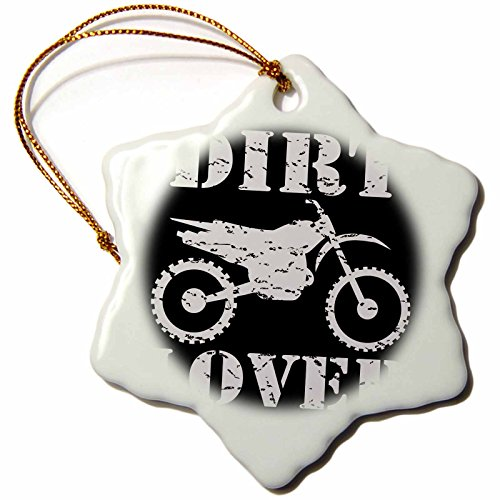 3dRose ORN_180550_1 White Image and Dirt Lover Text with Distressed Dirt Bike Graphics Snowflake Ornament, Porcelain, 3-Inch (Graphic Dirt)