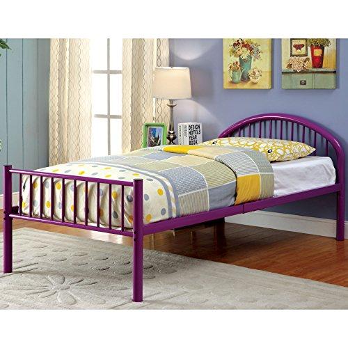 Furniture of America Linden Single Arch Metal Full Bed Purple Purple Finish - Arch Bath Single