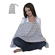 Nursing Cover for Breastfeeding Privacy EXTRA WIDE for Full Coverage - Breathable 100% Cotton , Stylish and - AZO Free