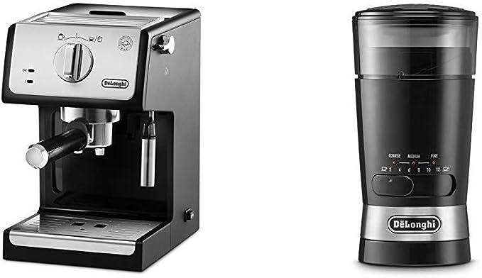Delonghi ECP33.21 - Cafetera espresso, 1100 W, capacidad 1.1 l, café molido y monodosis, negro y plata + DeLonghi KG210 - Molinillo de Café: Amazon.es: Hogar