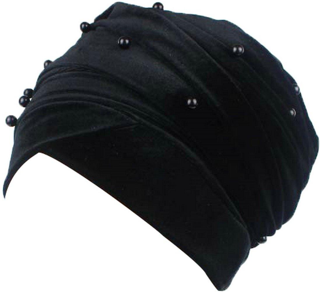 Ababalaya Women's Soft Gold Velvet Artificial Pearls Muslim Turban Headscarf Hijab 67×10 Inch,Black