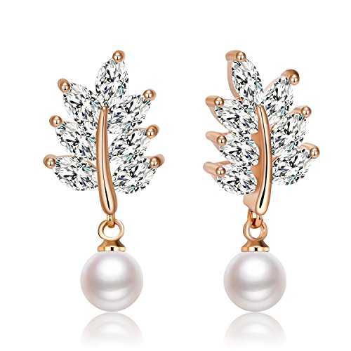Gold Pearl Leaf - Zolure Handpicked AAA+ Freshwater Cultured White Pearl Earrings for Women (Rose gold)