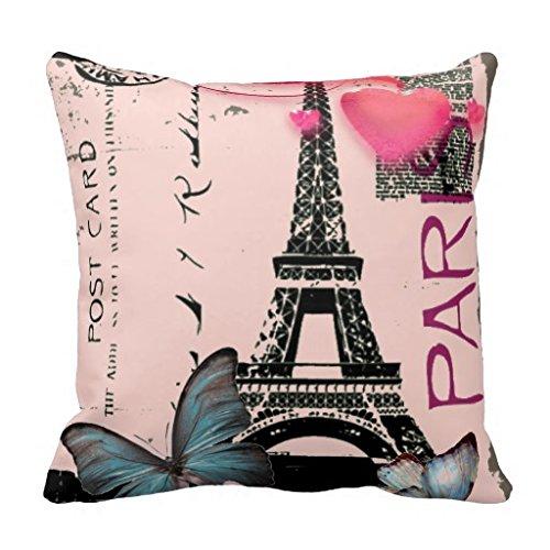 Vintage Pink Paris Effiel Tower Butterfly Fashion Pillow Case