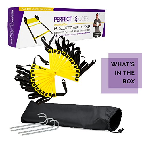 Perfect Soccer Skills Premium Soccer Training Agility Ladder + Free Carrying Bag by Perfect Soccer