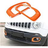 Dwindish Orange ABS Front Fog Light Chrome Cover Trim for Jeep Renegade 2015 Up