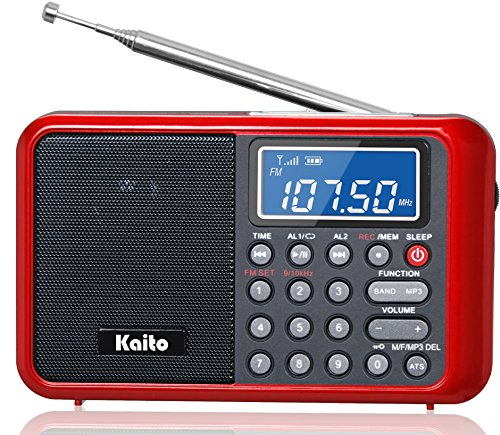 Kaito KA108 Super Sound quality AM FM Shortwave Radio with MP3 Player and Radio Recorder, Radio Time Schedule Recorder,Alarm Clock+ More (Red)