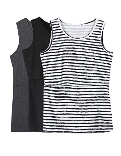 - Smallshow Women's 3 Pack Maternity Nursing Tank Tops Large Black-Deep Grey-SVP082