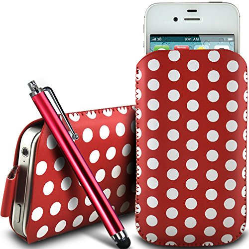 N4U Online - Apple iphone 5 protection en cuir PU conception Polka Pull Tab cordon glisser Housse Etui Quick Release et Grand Stylus Pen - Rouge