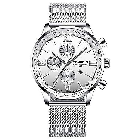BBestseller Relojes Hombre Deportivos,Correa de Malla de Moda Reloj Relojes clásicos Inoxidable Impermeable Watch (Plata 1): Amazon.es: Relojes