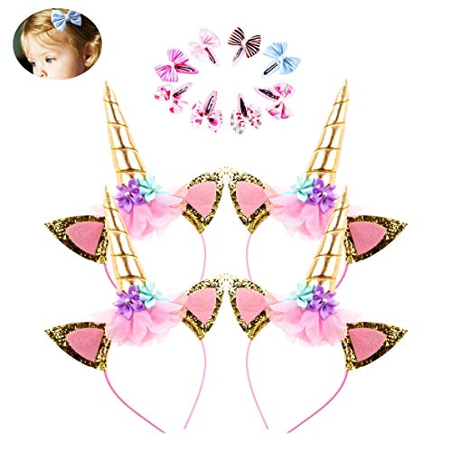 DaisyFormals Unicorn Headband 4 Pack Shining Gold Glitter Flowers Ears Headbands for Party Decoration or Cosplay Costume, Free Bonus- 8 PCS Hair -