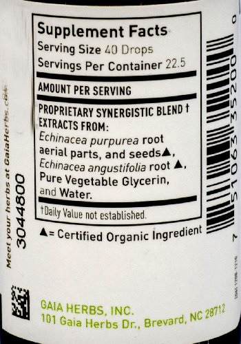 Gaia Herbs Echinacea Supreme, Alcohol-Free, 1-Ounce Bottle Pack of 2