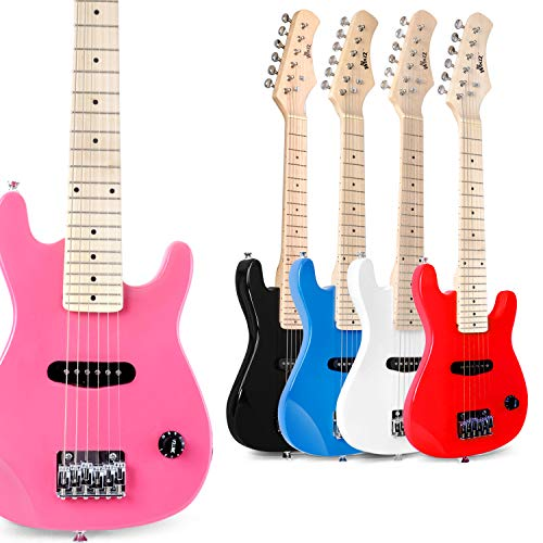 WINZZ 30 Inches Real Kids Electric Guitar with Beginner Kit, Pink