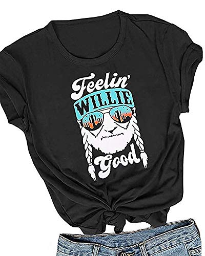 MOMOER I Willie Love The USA Shirt Women Vintage American Flag Graphic Tees 4th of July Summer Top T-Shirt ()