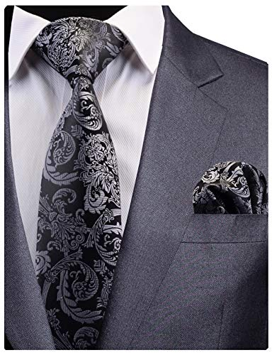 GUSLESON New Mens Floral Tie Silk Gray Black Wedding Necktie and Pocket Square Set (0783-19)